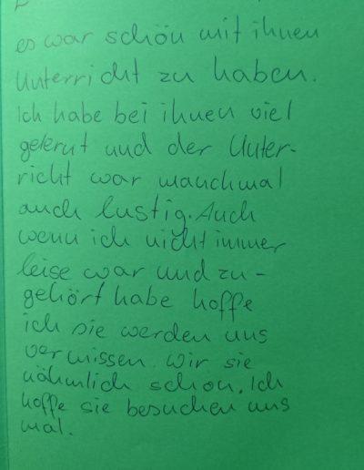 Brief von Schülerin